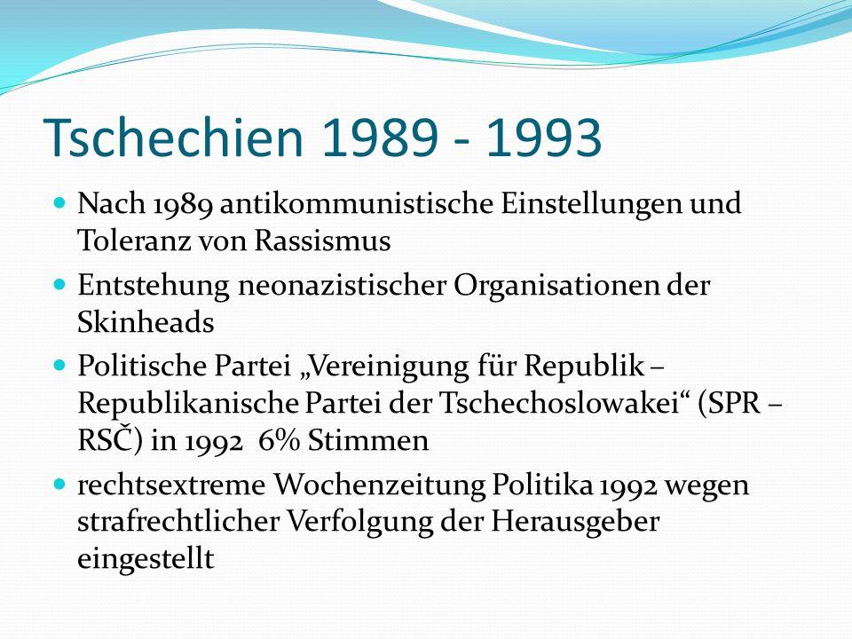 Tschechien 1989 - 1993 Nach 1989 antikommunistische Einstellungen und Toleranz von Rassismus.