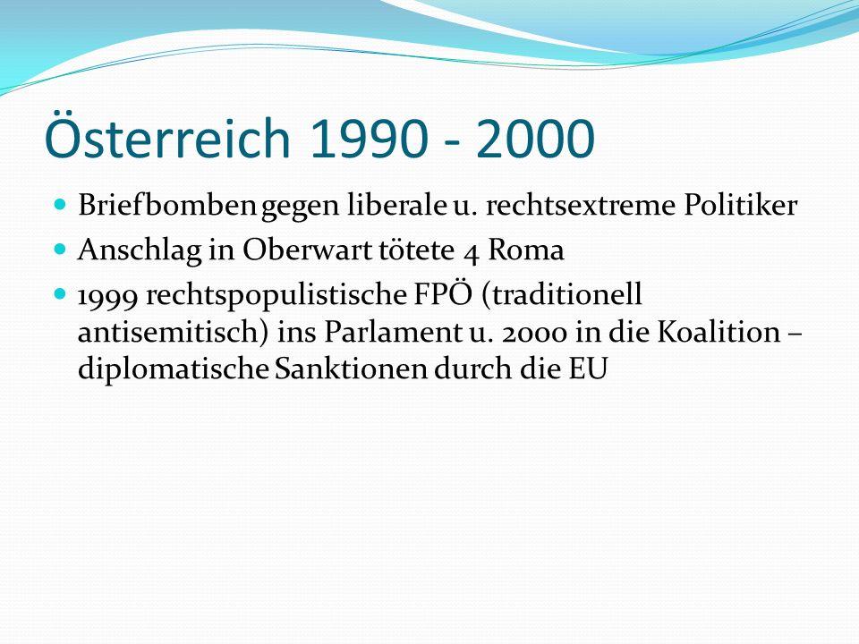 Österreich 1990 - 2000 Briefbomben gegen liberale u. rechtsextreme Politiker. Anschlag in Oberwart tötete 4 Roma.