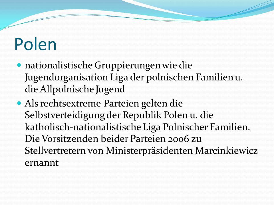 Polen nationalistische Gruppierungen wie die Jugendorganisation Liga der polnischen Familien u. die Allpolnische Jugend.