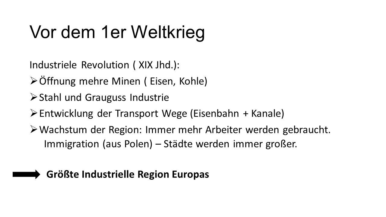 Vor dem 1er Weltkrieg Industriele Revolution ( XIX Jhd.):