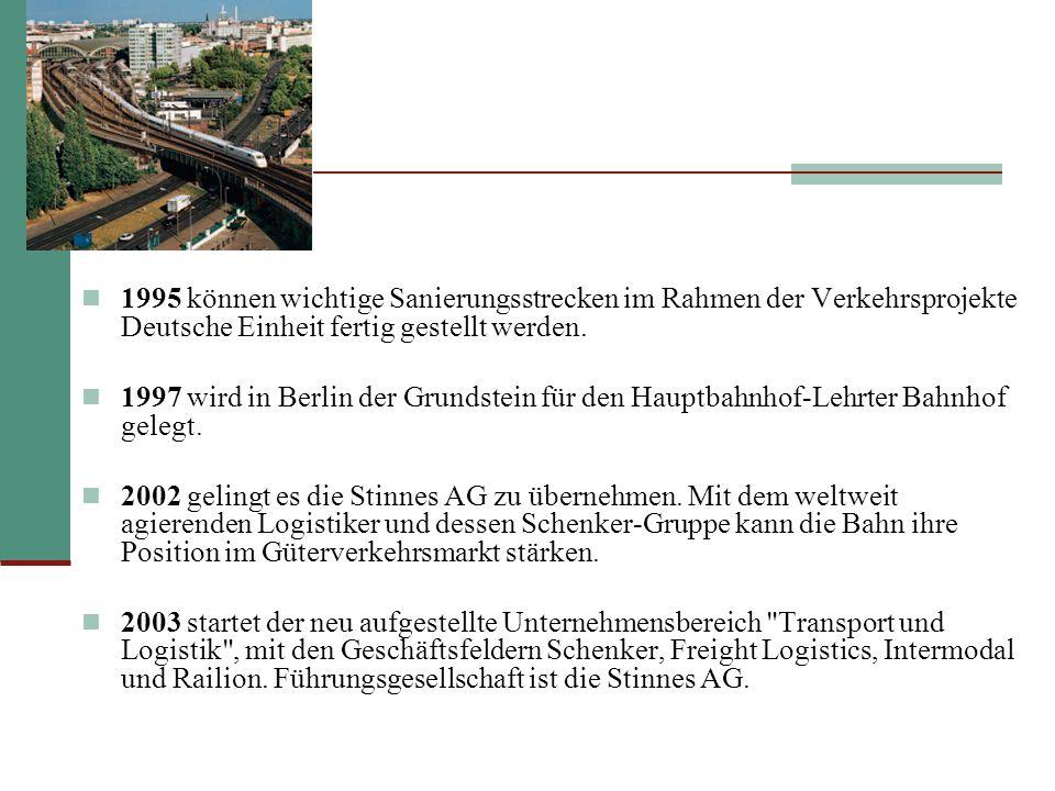1995 können wichtige Sanierungsstrecken im Rahmen der Verkehrsprojekte Deutsche Einheit fertig gestellt werden.