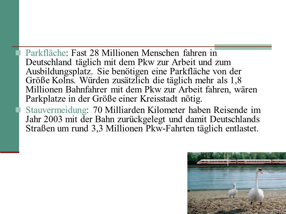 Parkfläche: Fast 28 Millionen Menschen fahren in Deutschland täglich mit dem Pkw zur Arbeit und zum Ausbildungsplatz. Sie benötigen eine Parkfläche von der Größe Kolns. Würden zusätzlich die täglich mehr als 1,8 Millionen Bahnfahrer mit dem Pkw zur Arbeit fahren, wären Parkplatze in der Größe einer Kreisstadt nötig.