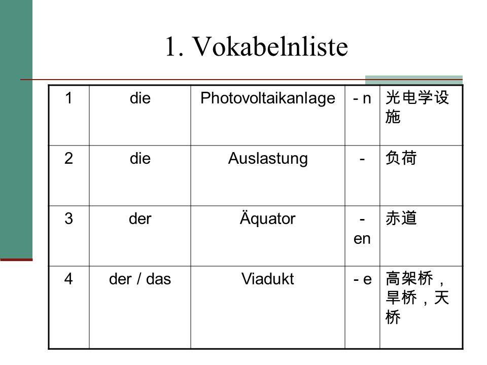 1. Vokabelnliste 1 die Photovoltaikanlage - n 光电学设施 2 Auslastung - 负荷