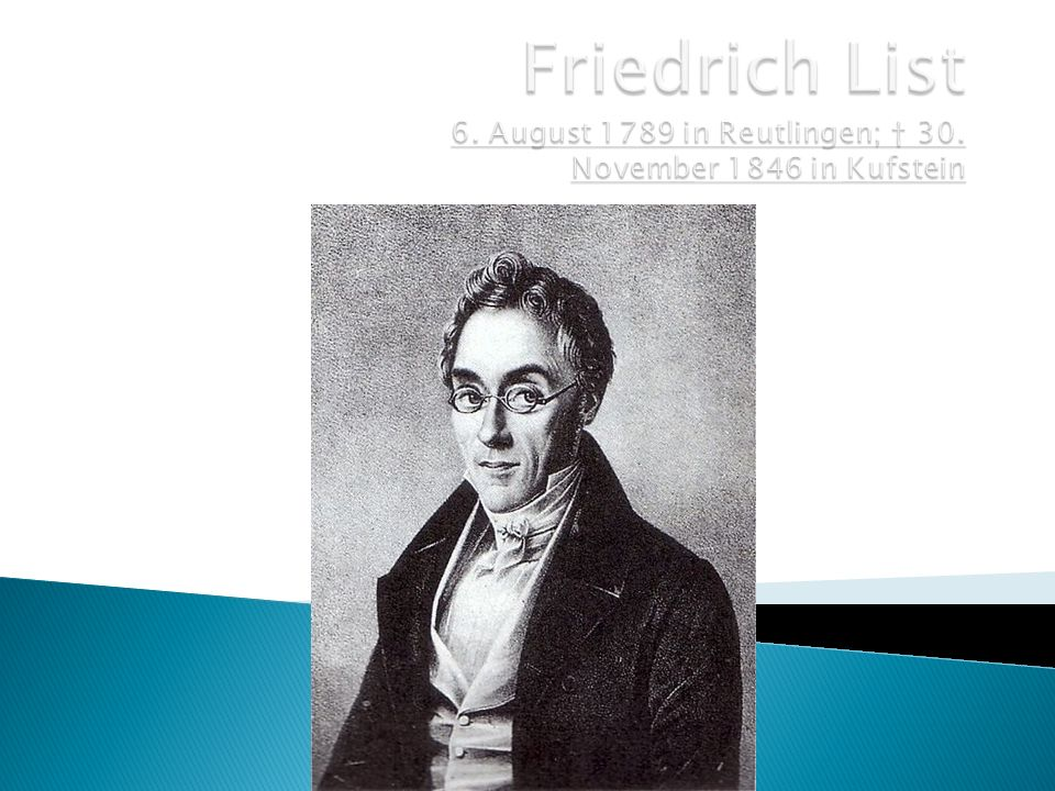 Friedrich List 6. August 1789 in Reutlingen; † 30