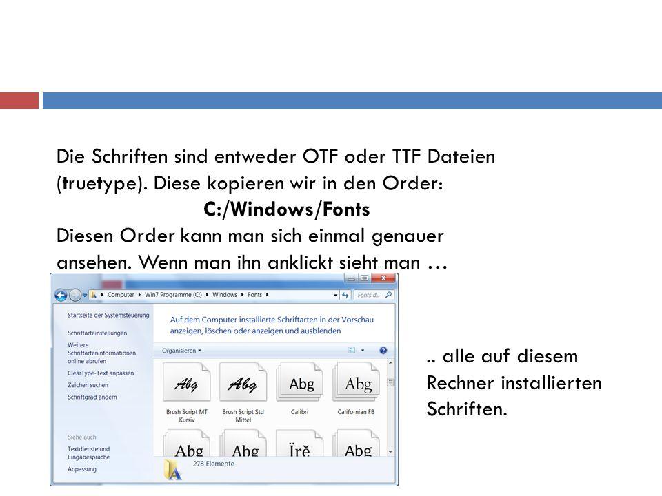 Die Schriften sind entweder OTF oder TTF Dateien (truetype)