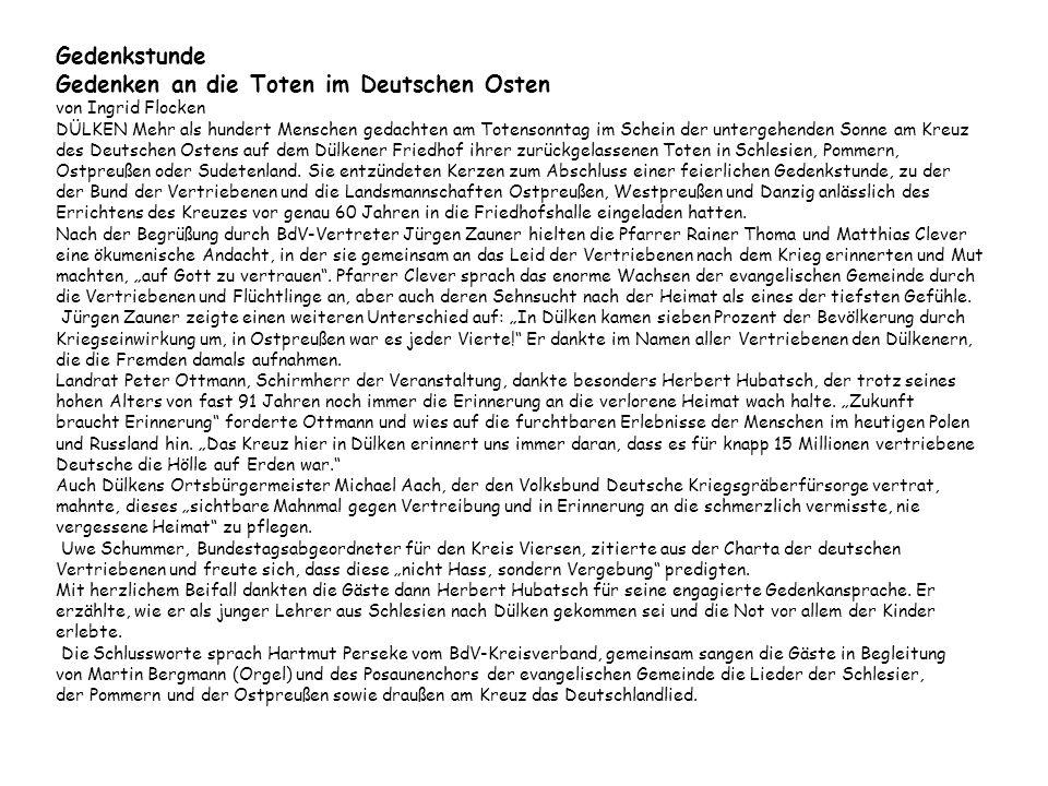 Gedenkstunde Gedenken an die Toten im Deutschen Osten von Ingrid Flocken