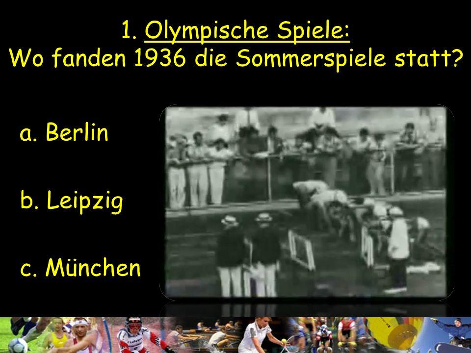 1. Olympische Spiele: Wo fanden 1936 die Sommerspiele statt