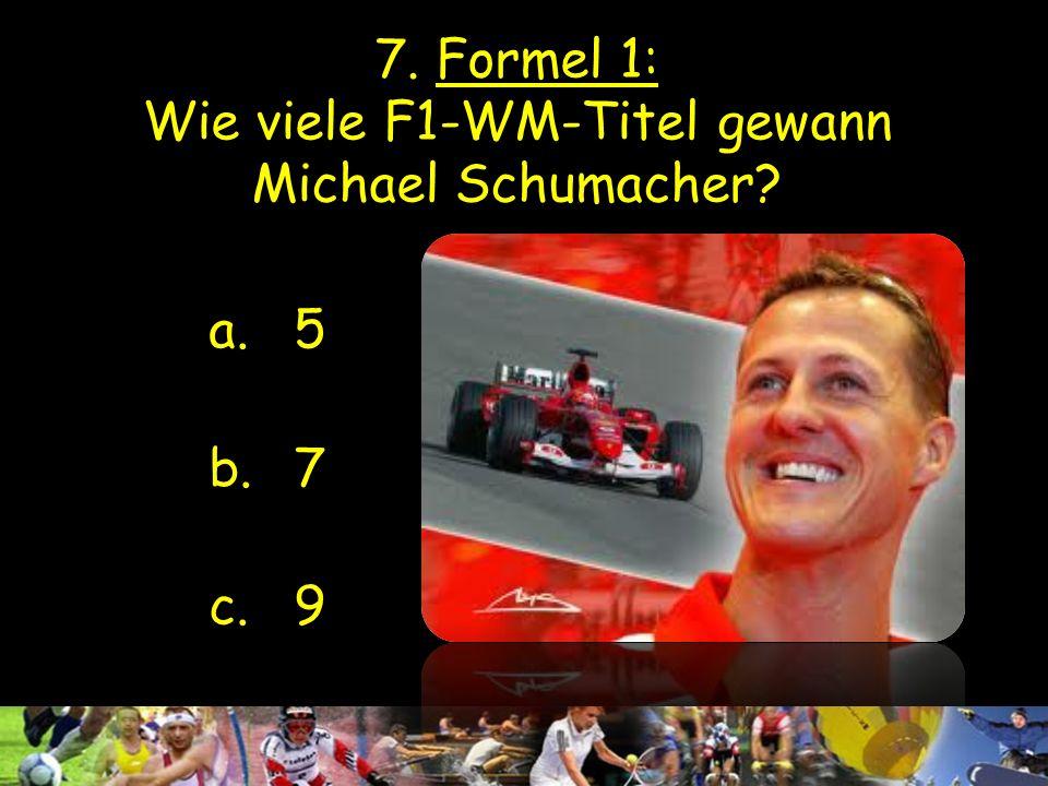 7. Formel 1: Wie viele F1-WM-Titel gewann Michael Schumacher