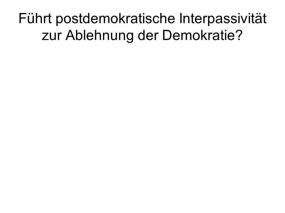 Führt postdemokratische Interpassivität zur Ablehnung der Demokratie