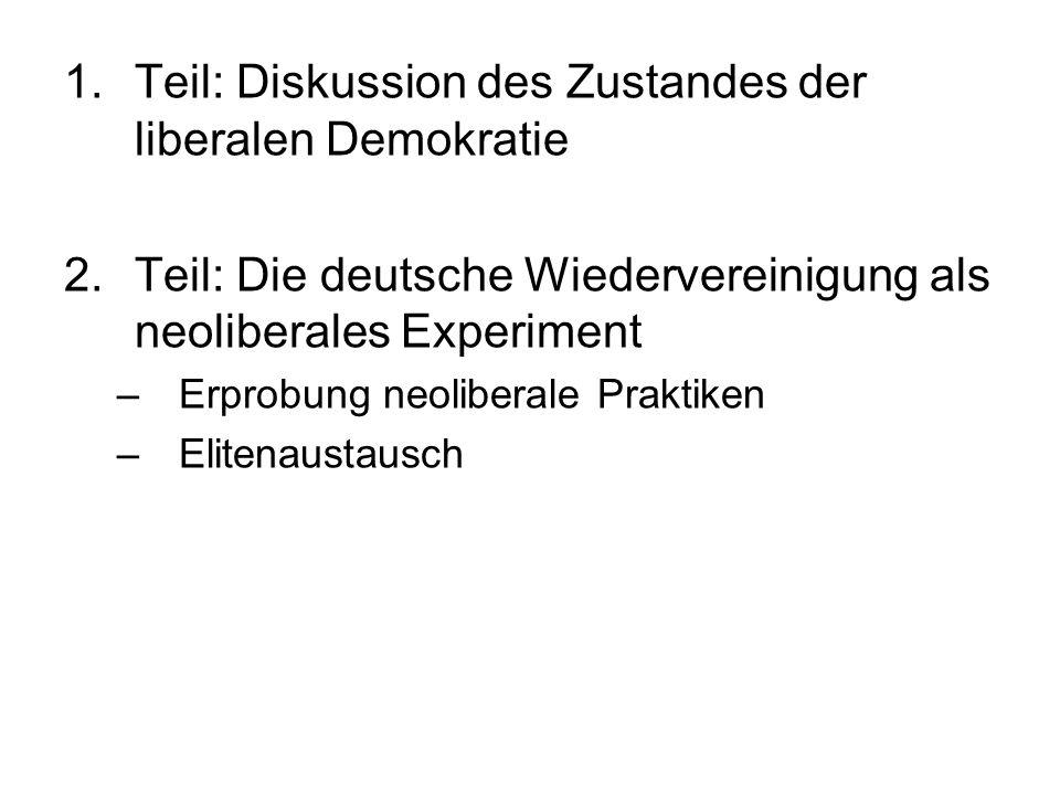 Teil: Diskussion des Zustandes der liberalen Demokratie