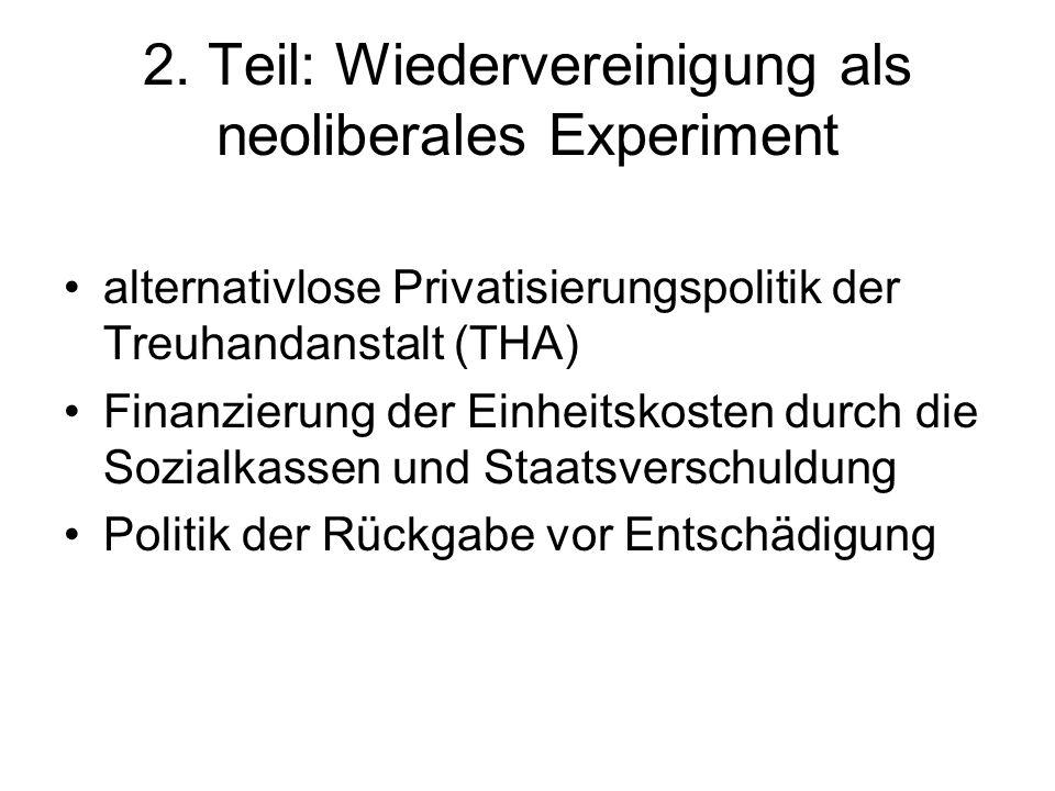2. Teil: Wiedervereinigung als neoliberales Experiment