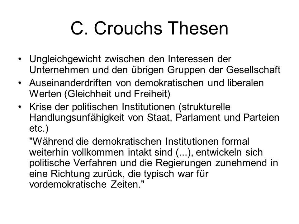 C. Crouchs Thesen Ungleichgewicht zwischen den Interessen der Unternehmen und den übrigen Gruppen der Gesellschaft.