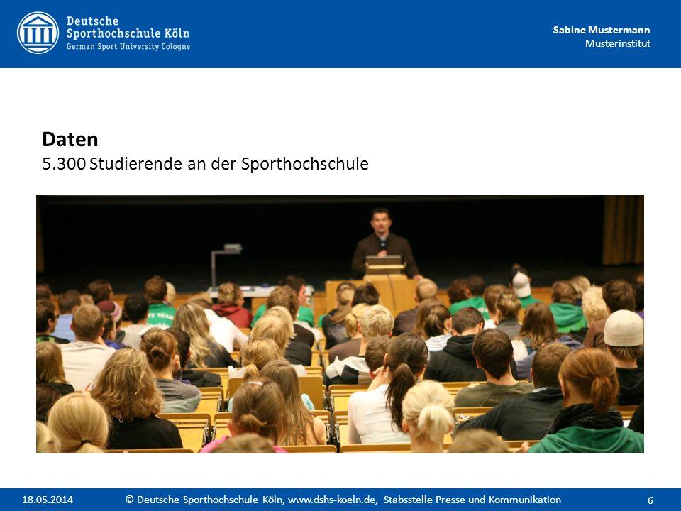 Daten 5.300 Studierende an der Sporthochschule
