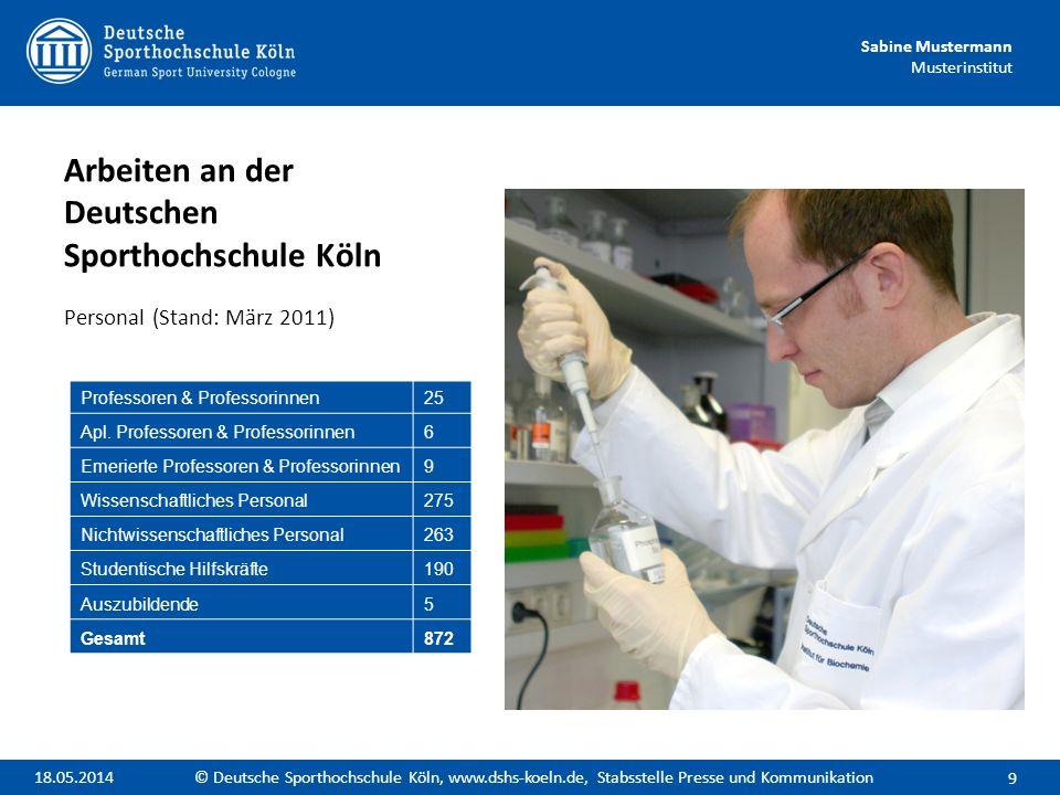 Arbeiten an der Deutschen Sporthochschule Köln