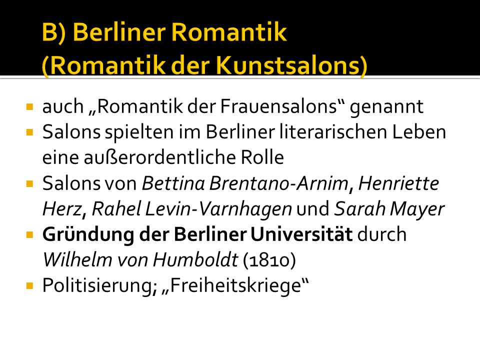 B) Berliner Romantik (Romantik der Kunstsalons)