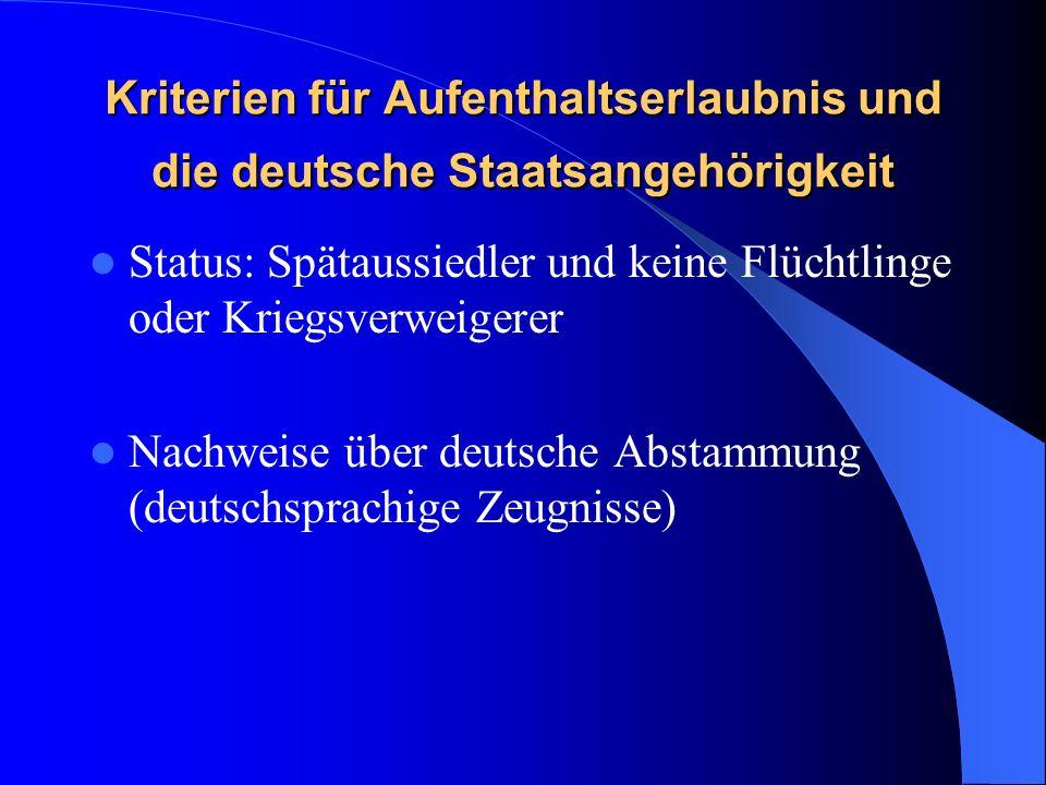 Kriterien für Aufenthaltserlaubnis und die deutsche Staatsangehörigkeit