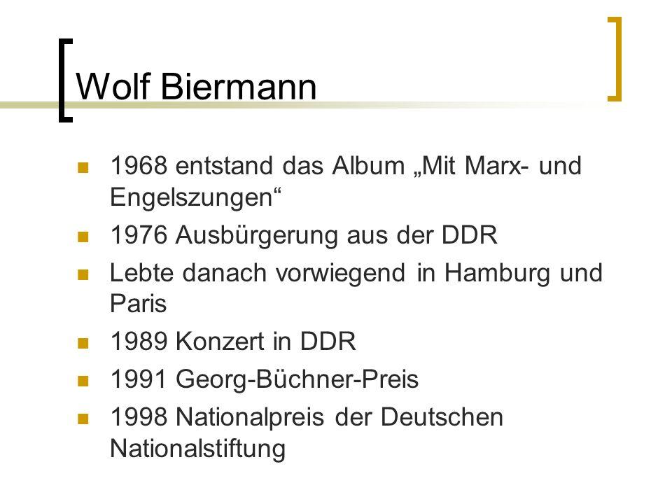 """Wolf Biermann 1968 entstand das Album """"Mit Marx- und Engelszungen"""