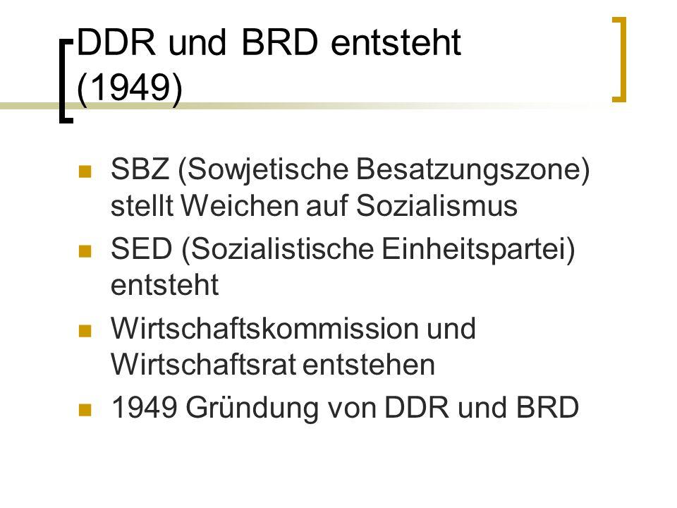 DDR und BRD entsteht (1949) SBZ (Sowjetische Besatzungszone) stellt Weichen auf Sozialismus. SED (Sozialistische Einheitspartei) entsteht.