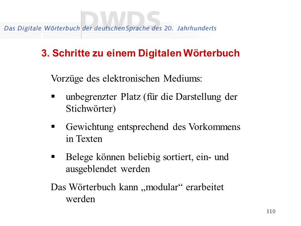 3. Schritte zu einem Digitalen Wörterbuch