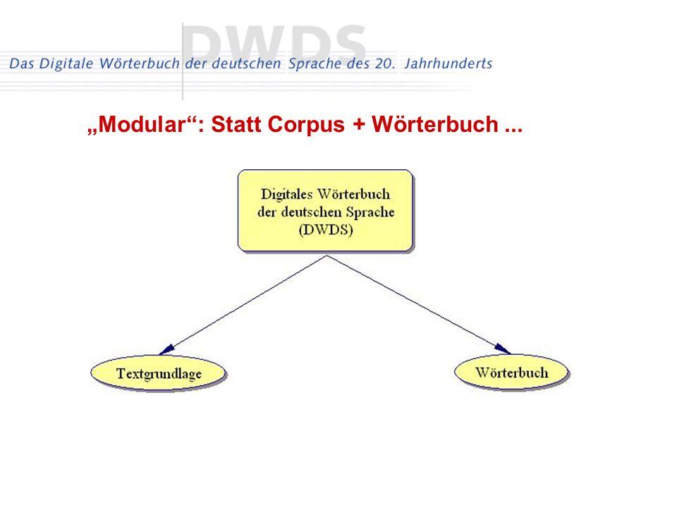 """Modular : Statt Corpus + Wörterbuch ..."