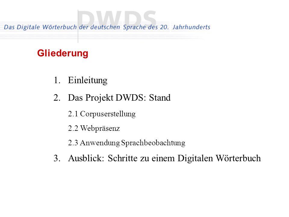 Das Projekt DWDS: Stand