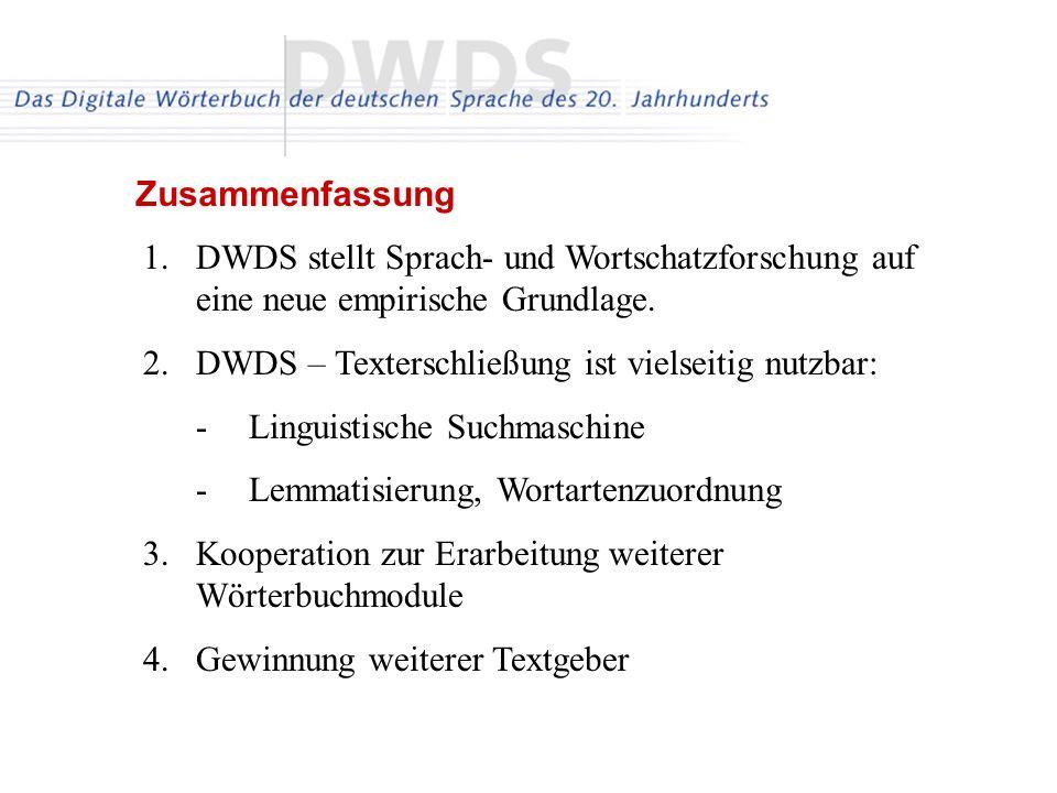 DWDS – Texterschließung ist vielseitig nutzbar: