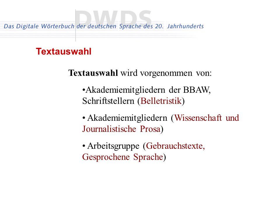 Textauswahl Textauswahl wird vorgenommen von: Akademiemitgliedern der BBAW, Schriftstellern (Belletristik)