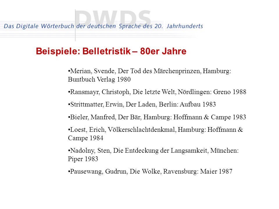 Beispiele: Belletristik – 80er Jahre