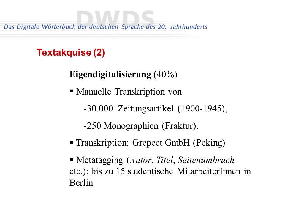 Textakquise (2) Eigendigitalisierung (40%) Manuelle Transkription von. 30.000 Zeitungsartikel (1900-1945),