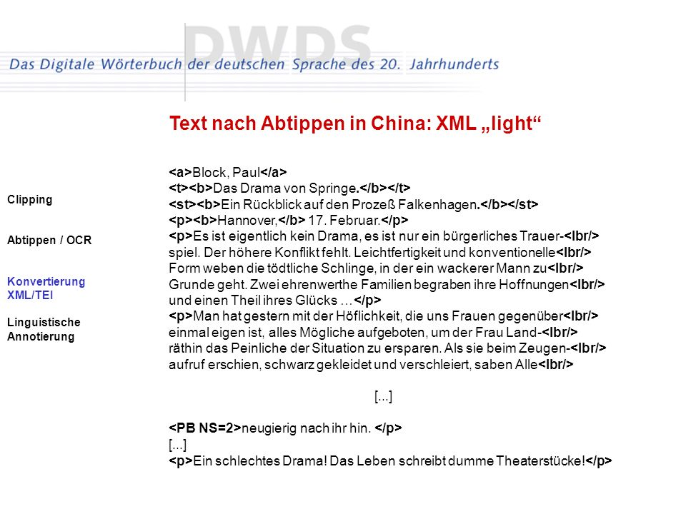 "Text nach Abtippen in China: XML ""light"