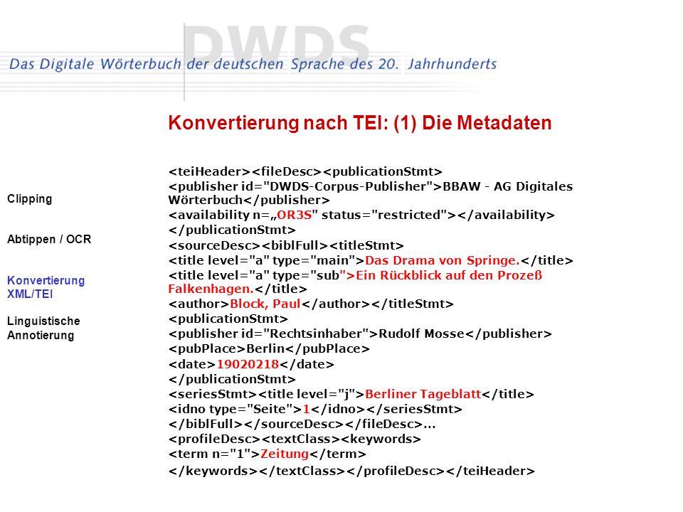 Konvertierung nach TEI: (1) Die Metadaten
