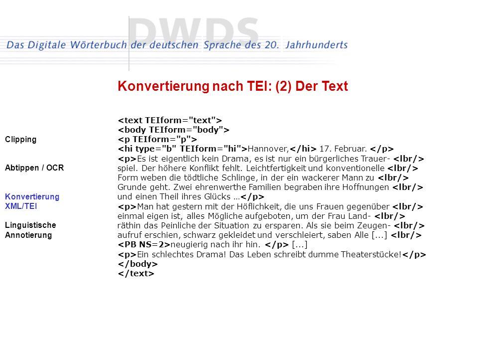 Konvertierung nach TEI: (2) Der Text
