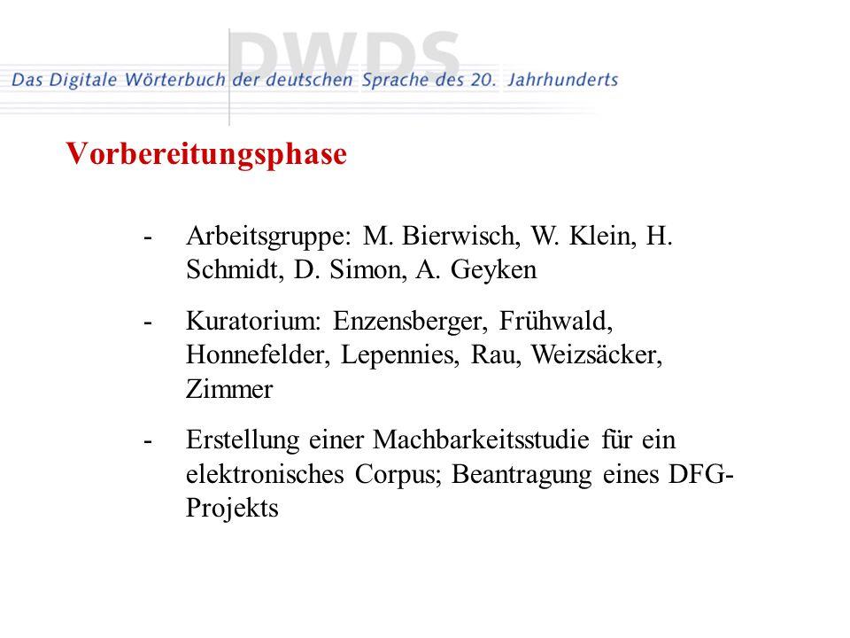 Vorbereitungsphase Arbeitsgruppe: M. Bierwisch, W. Klein, H. Schmidt, D. Simon, A. Geyken.