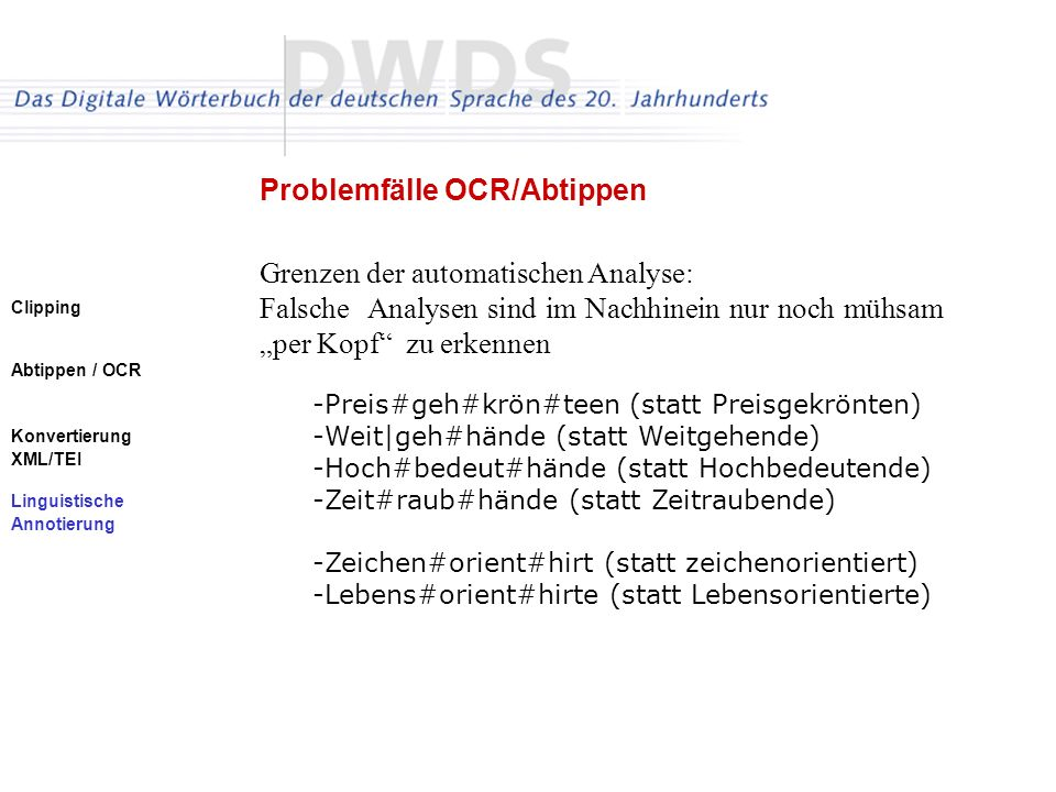 Problemfälle OCR/Abtippen