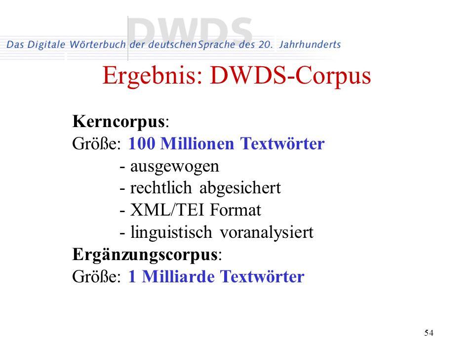 Ergebnis: DWDS-Corpus