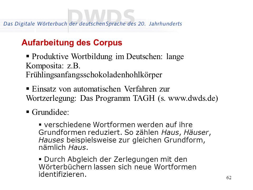 Aufarbeitung des Corpus