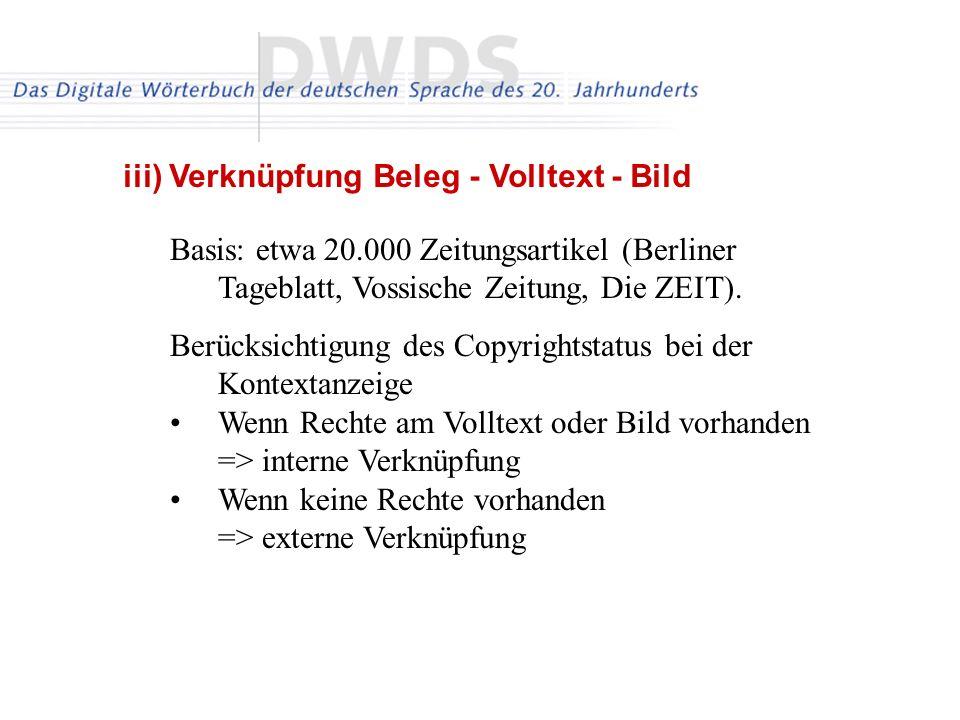 iii) Verknüpfung Beleg - Volltext - Bild