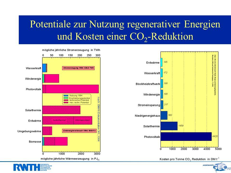 Potentiale zur Nutzung regenerativer Energien und Kosten einer CO2-Reduktion
