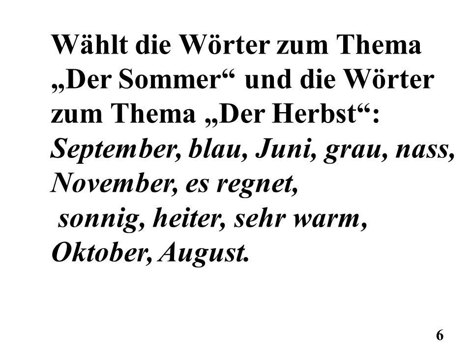 """Wählt die Wörter zum Thema """"Der Sommer und die Wörter"""