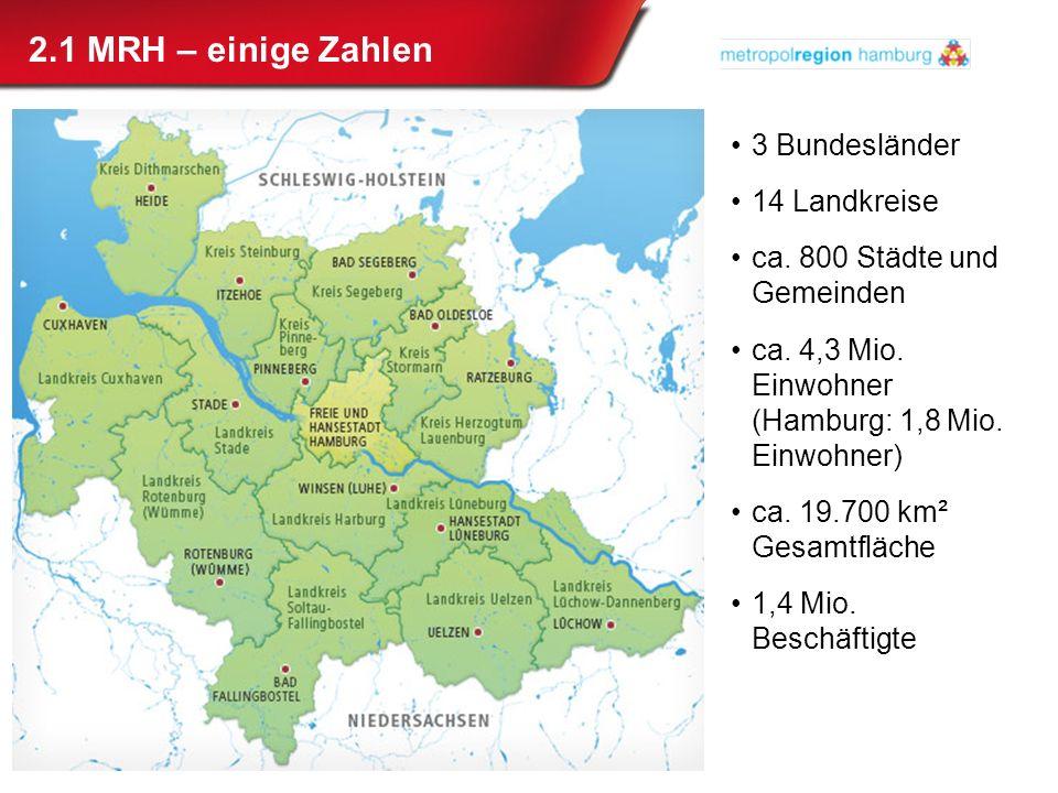 2.1 MRH – einige Zahlen 3 Bundesländer 14 Landkreise