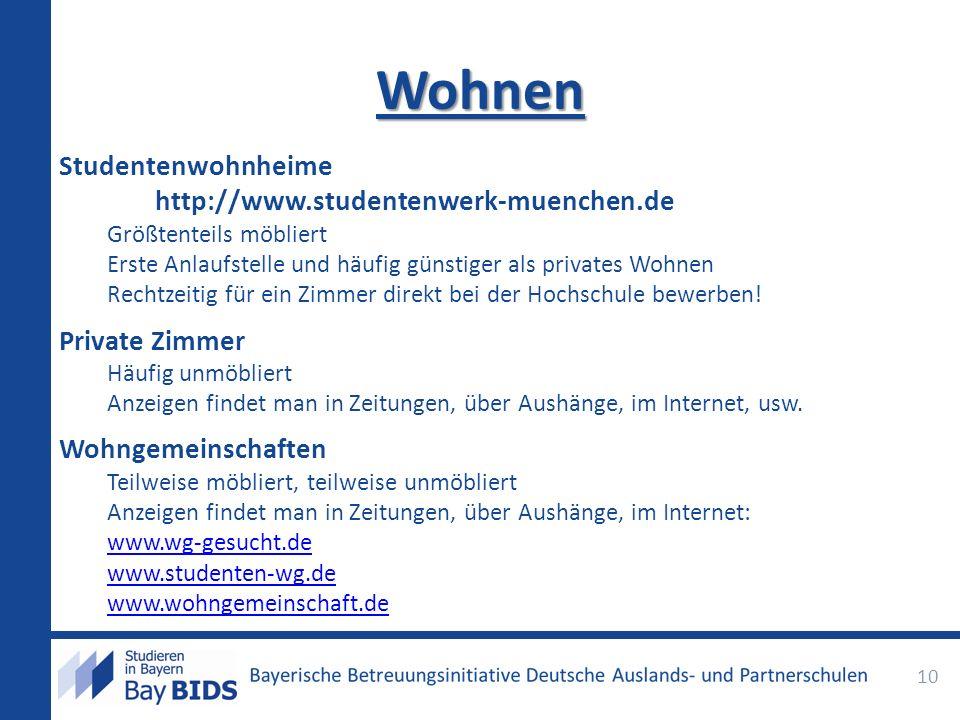 Wohnen Studentenwohnheime http://www.studentenwerk-muenchen.de