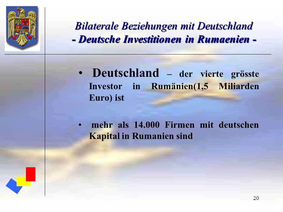 Bilaterale Beziehungen mit Deutschland - Deutsche Investitionen in Rumaenien -