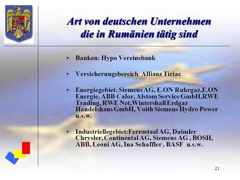 Art von deutschen Unternehmen die in Rumänien tätig sind