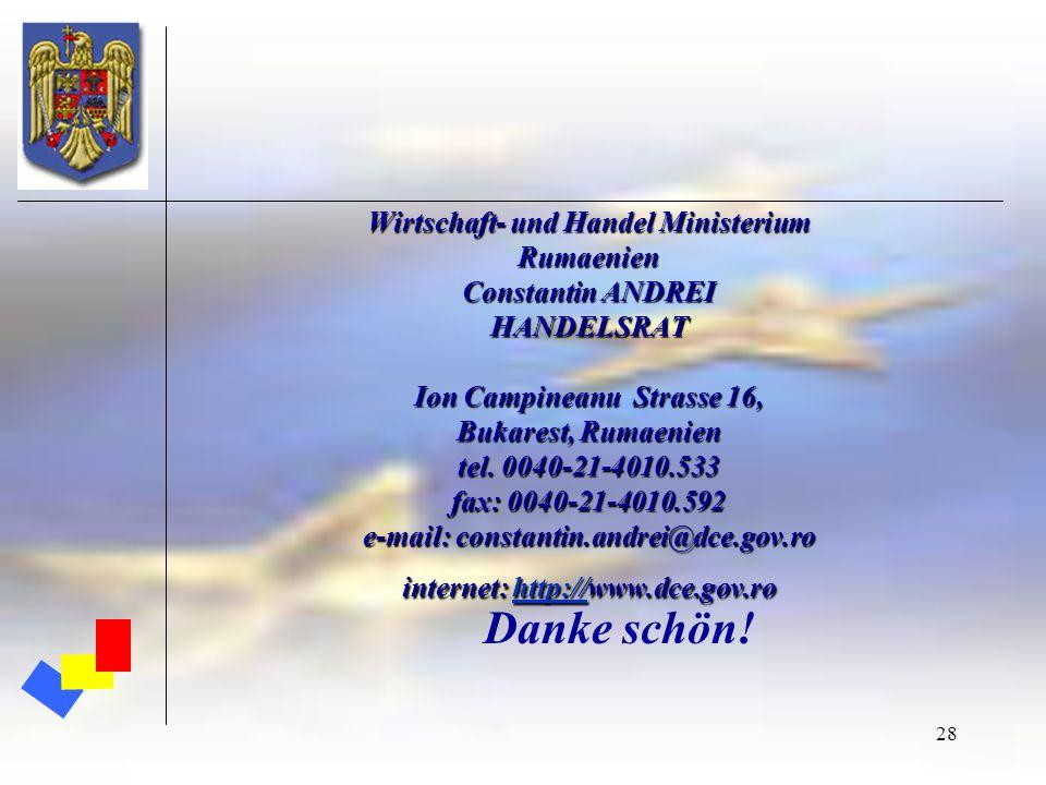 Wirtschaft- und Handel Ministerium Rumaenien Constantin ANDREI HANDELSRAT Ion Campineanu Strasse 16, Bukarest, Rumaenien tel. 0040-21-4010.533 fax: 0040-21-4010.592 e-mail: constantin.andrei@dce.gov.ro internet: http://www.dce.gov.ro