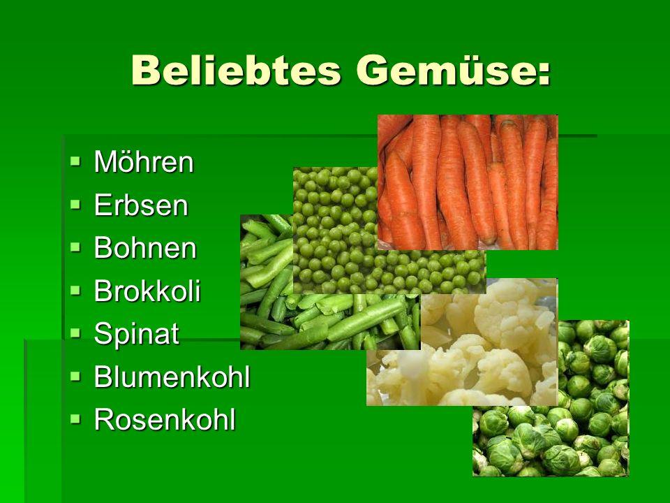 Beliebtes Gemüse: Möhren Erbsen Bohnen Brokkoli Spinat Blumenkohl