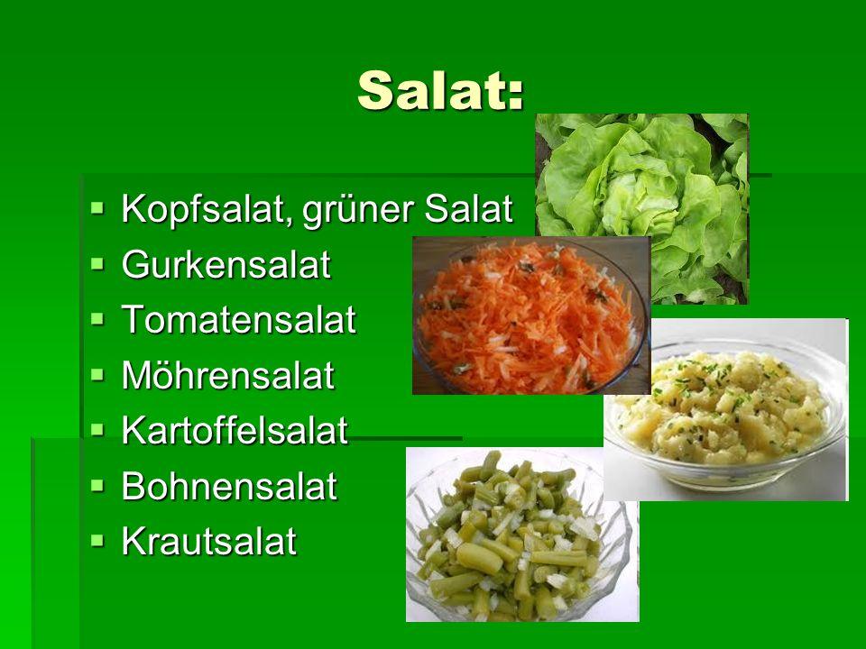Salat: Kopfsalat, grüner Salat Gurkensalat Tomatensalat Möhrensalat