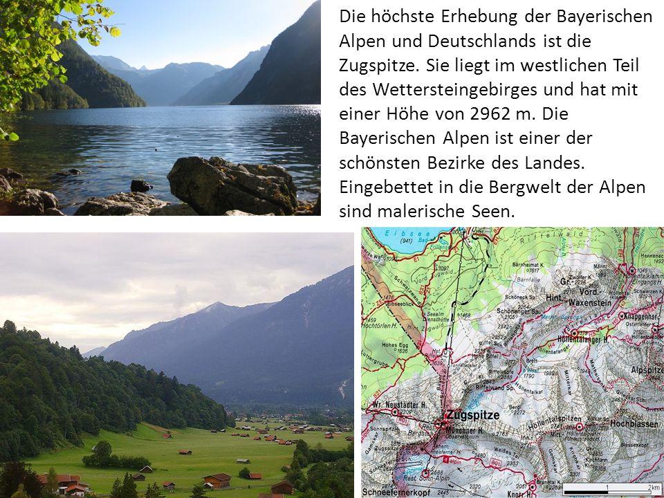 Die höchste Erhebung der Bayerischen Alpen und Deutschlands ist die Zugspitze.