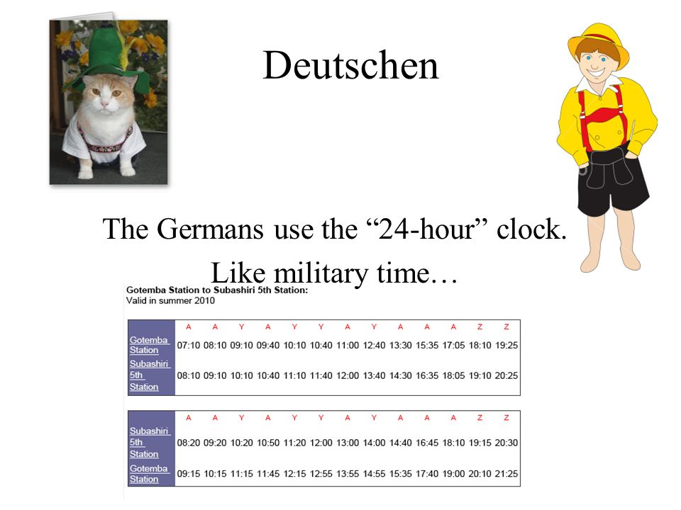 The Germans use the 24-hour clock. Like military time…