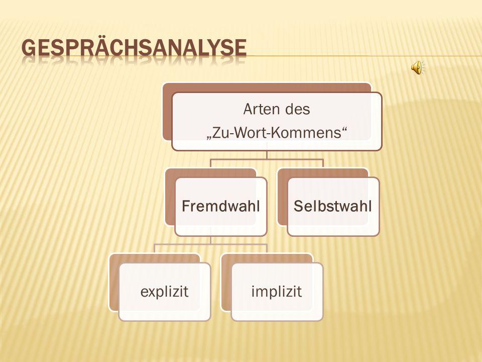 """Gesprächsanalyse """"Zu-Wort-Kommens Arten des Fremdwahl explizit"""