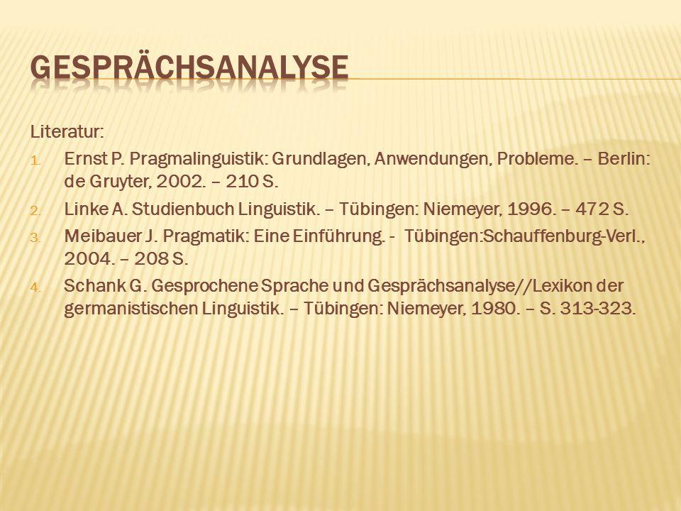 Gesprächsanalyse Literatur: